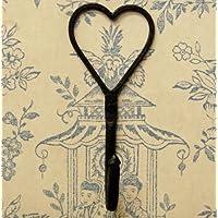 Hand forged iron heart shaped single coat wall hook