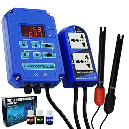 Digital 2 en 1 pH ORP Monitor Redox Monitor Electrodo Sonda BNC Medidor de calidad del agua Salida Control de relé de potencia Online Kit de medición continuo Acuario Hidroponía