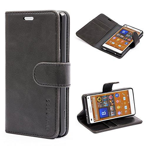 Mulbess Ledertasche im Ständer Book Case / Kartenfach für Sony Xperia Z3 Compact Tasche Hülle Leder Etui,Schwarz Xperia Z3 Case Ständer
