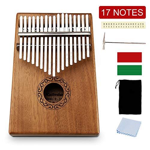 UBEGOOD Kalimba Daumenklavier, 17 Schlüssel Daumen-Klavier Mahagoni Finger Klavier mit Lernanleitung und Stimmhammer für Musikliebhaber Anfänger