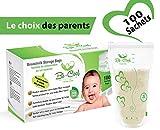 Sachets de Conservation du Lait Maternel, Sacs de Conservation Pré-stérilisés Sans BPA, 210ml, 100 sachets
