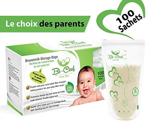Sachets de Conservation du Lait Maternel, Sacs de Conservation Pré-stérilisés Sans BPA, 210ml,...