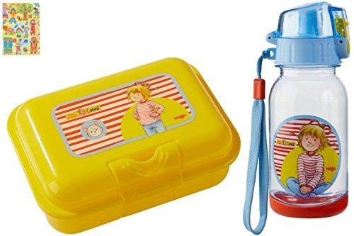 HABA Brotdose und Trinkflasche Conni Butterbrotdose Farbe gelb Lunchbox Geschenk Kiga Schule inkl. Geschenkverpackung