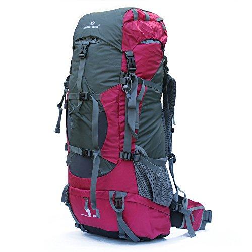 Wasserdichter Rucksack mit Wanderrucksack Fassungsvermögen aus strapazierfähigem Nylon mit Regenschutzhülle. Großer Trekkingrucksack, perfekt zum Wandern, Bergsteigen, Reisen und für Sport und Camping