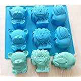 JoyGlobal 6 Cavity Animal Lion Bear Hippopotamus Silicone Soap Cake Pudding Cookie Jelly Chocolate Mould Baking Mold (Soap Weight - 110 Grams)