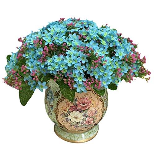 Coloré(TM) Feuille artificielle Rose Faux Soie Artificielle Fleur De Mariage Nuptiale Bouquet Décor À La Maison 72 Tête (Vert clair)