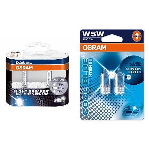 Preisvergleich Produktbild OSRAM D2S Xenarc Night Breaker Unlimited Xenon-Scheinwerfer Duobox und W5W Cool Blue Intense Standlicht, je 2 Lampen