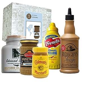 "Geschenkbox ""Senfkorn"" + Senf + Frenchs Yellow Mustard + Colman's Senf + Edmond Fallot + Bergbys Senf + Kozaka Senf + USA + Schweden + England + Frankreich + Russland +"