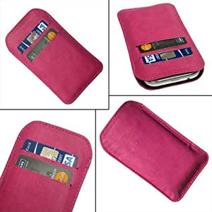 i-KitPit Quality PU Leather Pouch Case Cover For Karbonn A35 (PINK)