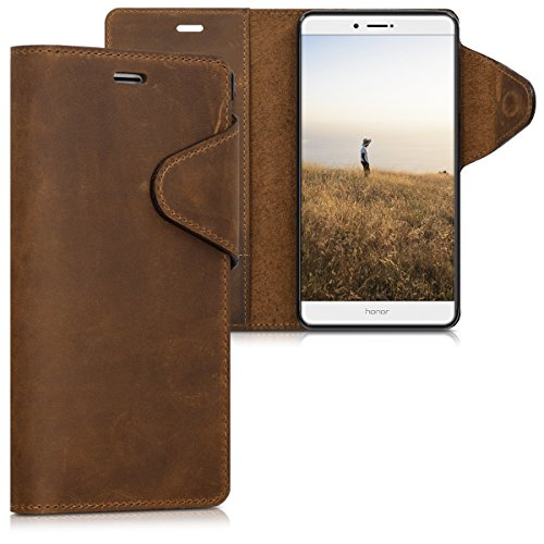 kalibri Huawei Honor 6X / GR5 2017 / Mate 9 Lite Hülle - Leder Handyhülle für Huawei Honor 6X / GR5 2017 / Mate 9 Lite - Handy Wallet Case Cover