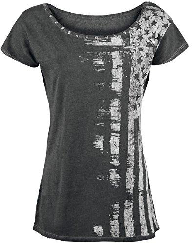 Rock Rebel by EMP Flag Skullrivet Shirt Maglia donna grigio S