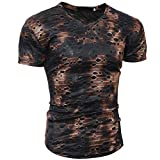 Sport Shirt Herren Kanpola Sommer Basic Sweatshirt Slim Fit Kurzarm Tee Fitness Bluse (N-Kaffee, M)