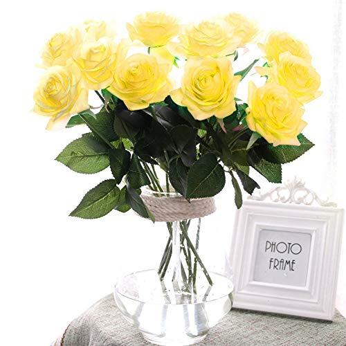 10 STK. Seide künstliche Rose,künstliche Rose Blumen Kunstblumen Blume Dekoration Blumenstrauß DIY Blumenarrangement (gelb) (Künstliche Rosen Gelbe)