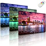 Leuchtbild mit LED Hintergrundbeleuchtung - Skyline New York - 100 x 70 cm - fully lighted - MADE IN GERMANY