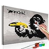 murando - Malen Nach Zahlen Banksy Affe 60x40cm Malset DIY n-A-0223-d-a