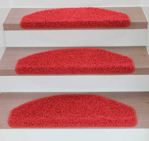 Kettelservice-Metzker Stufenmatten Treppenmatten Shaggy - Halbrund 10 Aktuelle Farben im SparSet 15 Stck. incl. Fleckentferner (Rot)