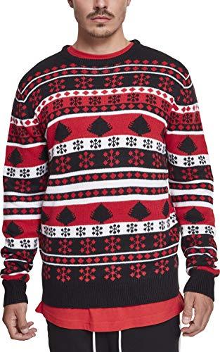 Urban Classics Herren Snowflake Christmas Tree Sweater Sweatshirt, Mehrfarbig (Black/Fire Red/White 01245), Large - White Classic Sweatshirt