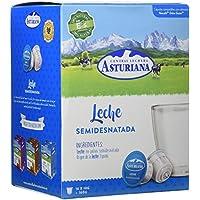 Central Lechera Asturiana Cápsulas de Leche Semidesnatada - 4 Paquetes de 16 Cápsulas - Total: