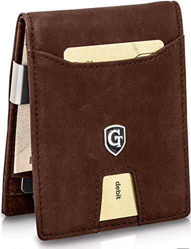 GenTo® Herren Designer-Geldbörse London mit Geldklammer und Münzfach - TÜV geprüfter RFID NFC Schutz | Design Germany