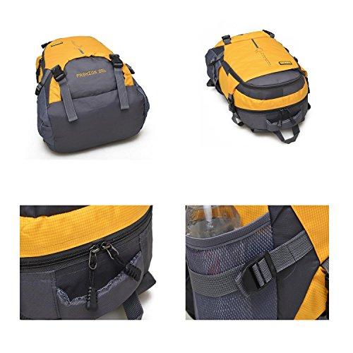 25L Small Bergsteigen Rucksack Outdoor Multifunktion Erholung Portable Pack Klettern Reisen Wandern ritt Tasche leisure Pack für Männer und Frauen 6Colors H48 x W33 x T18 CM Yellow