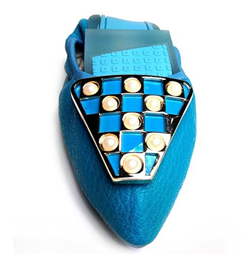 SHINIK Frauen Neue Leder Ei Rolls Damen Schuhe Shallow Mund Schuhe Schuhe Süß Single Schuhe Weibliche Falten Tanz Schuhe Blue