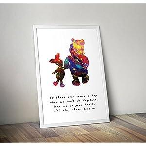 Winnie the Pooh - inspiriert - Zitat - Aquarell - Poster - Print - Geschenke - Alternative TV/Movie Poster in verschiedenen Größen (Rahmen nicht im Lieferumfang enthalten)