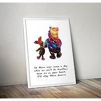 Winnie the Pooh - Inspirado - Cita - Acuarela - Póster - Impresión - regalos - Carteles de TV/películas alternativos en varios tamaños (Marco no incluido)