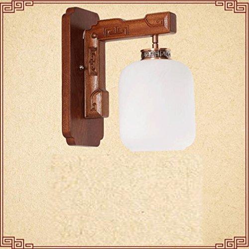 ZHAOJING Applique Solide Bois Salon Chambre Chevet Applique Antique Escaliers En Bois Allée Creative Lampes Solide Bois, Imitation Marbre Verre Ombre (Couleur : B)