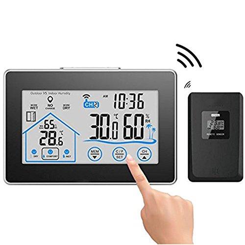 summeryoung Digital Hygrometer Thermometer, kabellose Wetterstation, innen-/außentemperatur Luftfeuchtigkeit Monitor mit LCD Touchscreen, Display umfassende Informationen