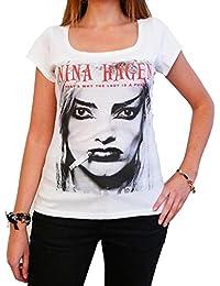 Nina Hagen : T-shirt Femme imprimé photo de star,Blanc, t shirt femme,cadeau