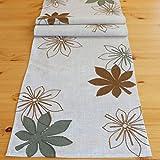 Tischläufer 40 x 140 cm beige Stickerei