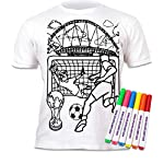 Splat Planet Football T-Shirt Age 5-6 Colouring Kids T-Shirt With 6 Fabric Pens