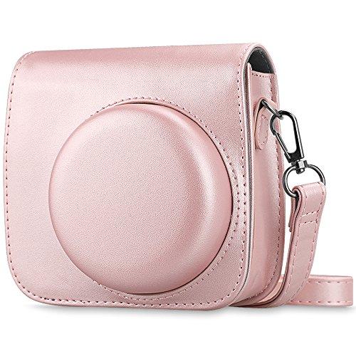 Fintie Tasche für Fujifilm Instax Mini 8 / Mini 9 Sofortbildkamera - Premium Kunstleder Schutzhülle Reise Kameratasche Hülle Abdeckung mit abnehmbaren Riemen, Roségold