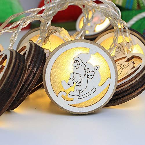 (Hffan Weihnachten Dekoration Weihnachtsdekoration Romantisch Weihnachtsmann Runde Kleines Holzschild 10stk Santa Hängende Verzierung Anhänger Spaß Karikatur(B,10xRundes Licht))