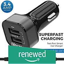 (Renewed) iVoltaa 3.4A Dual Port Car Charger with Micro USB Cable - Black