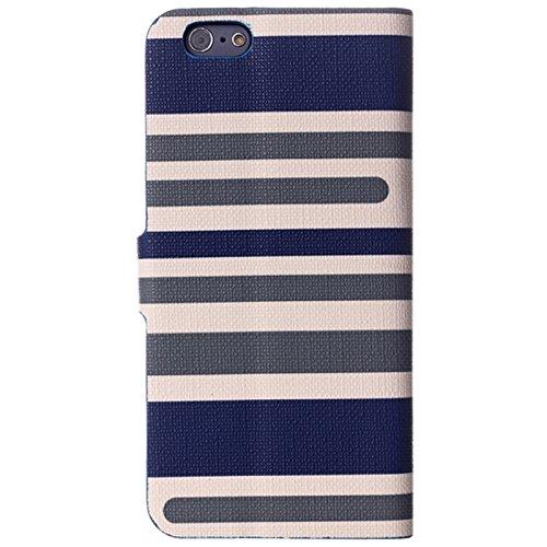 Wkae Case Cover Verändertes Streifen Textur Horizontal-Schlag-Leder-Kasten mit Halter für iPhone 6 &6S ( Color : Dark Blue ) Dark Blue
