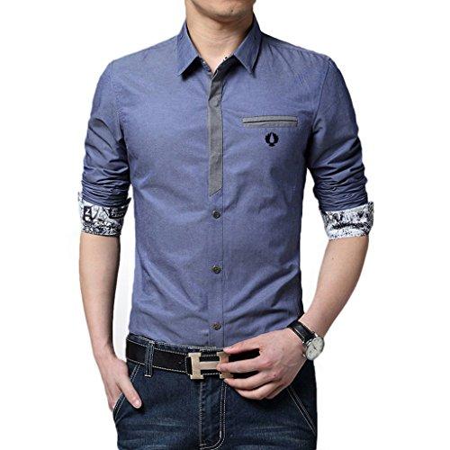 Homme chemise de loisirs Manches longues Ajustée Chic Couleur Unie Bleu