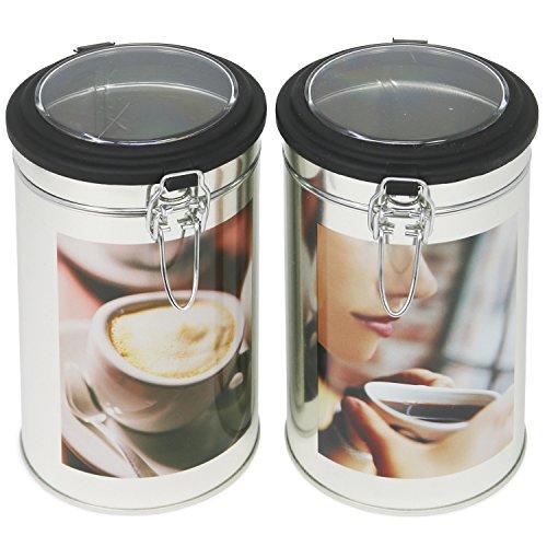 com-four 2X Kaffeedosen mit Sichtfenster in trendigem Design, für bis zu 500 g Kaffee, Verschiedene...