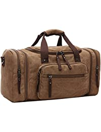 AIZBO Large Canvas Holdall Travel Duffel Bag Overnight Weekend/Weekender Bags for Men and Women (Expansion Capacity:58 * 25 * 30cm)