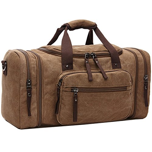 Unisex Canvas Holdall,AIZBO Travel Carry On Duffles Bags Overnight Weekend/Weekender Bag for Men and Women (Expansion Capacity:58 *25*30cm) (Brown)