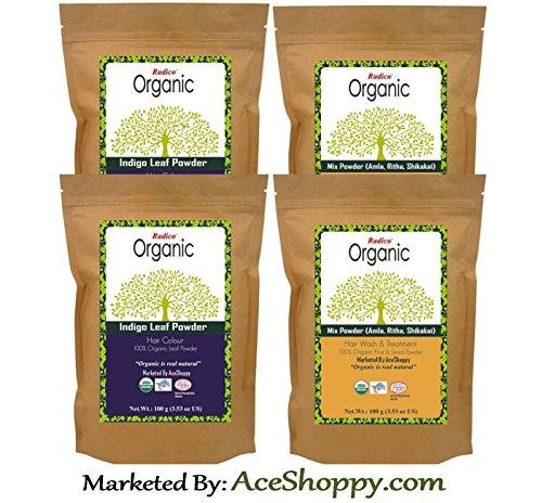Radico Organic Indigo Leaf With Mixture of Amla Ritha Shikakai Powder (Twin Pack)  available at amazon for Rs.665