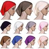elans Women's Islamic Plain Tube Hijab Bonnet Cap Under Scarf Pullover Underscarf (White)