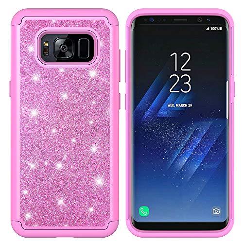 HUDDU Glitzer Hülle Compatible for Samsung Galaxy S8 Handyhülle Bling Hart PC Backcover Sparkles Case Abdeckung Soft Flex TPU Silikon Gel Kratzfest Case 2in1 Dual Layer Stoßfest Schutzhülle - Pink Pink Crystal Bling