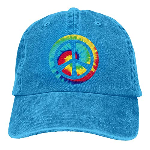 Ingpopol Men Women Adjustable Denim Jeans Baseball Caps Tie Dye Peace Sign Dad Hat -