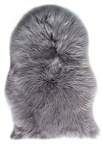 Fell Lammfell Schaffell/sheepskin rug, Lammfellimitat Flauschigen Teppiche Imitat Kunstfell Dekofell,Langes Haar Nachahmung Wolle Bettvorleger Sofa Matte 60X90 cm (Grau) -