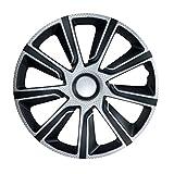14 Zoll Bicolor Radzierblenden VERON CARBON (Schwarz/Silber). Radkappen passend für fast alle VW Volkswagen wie z.B. Polo 9N!