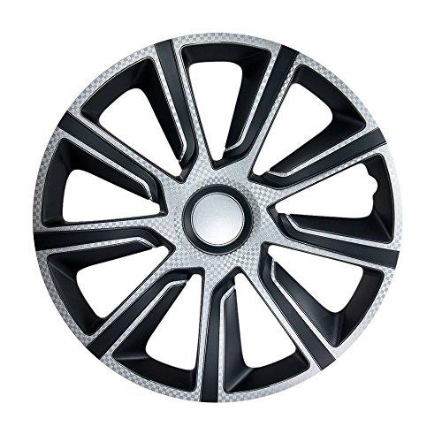4X Radzierblenden 15 Zoll VERON Carbon (Silber Schwarz) passend für z.B. Opel für Corsa D