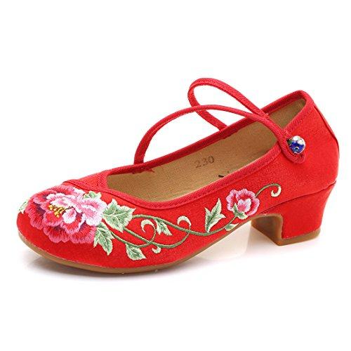 Yy.f YYF Fille Femme Chaussure A Talon Fleur Broderie Chinoise Confortable a Porter Elegante pour Ete Printemps Automne