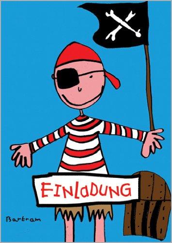 im 5er Set: Kinder Geburtstags Einladungskarte mit coolem Pirat, Schatzkiste und Totenkopf