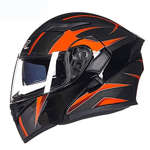 ralhelm DOT Approved - Moped Street Bike Racing Crash Motorradhelm mit Anti Fogging Dual Lens Four Seasons Unisex,L ()